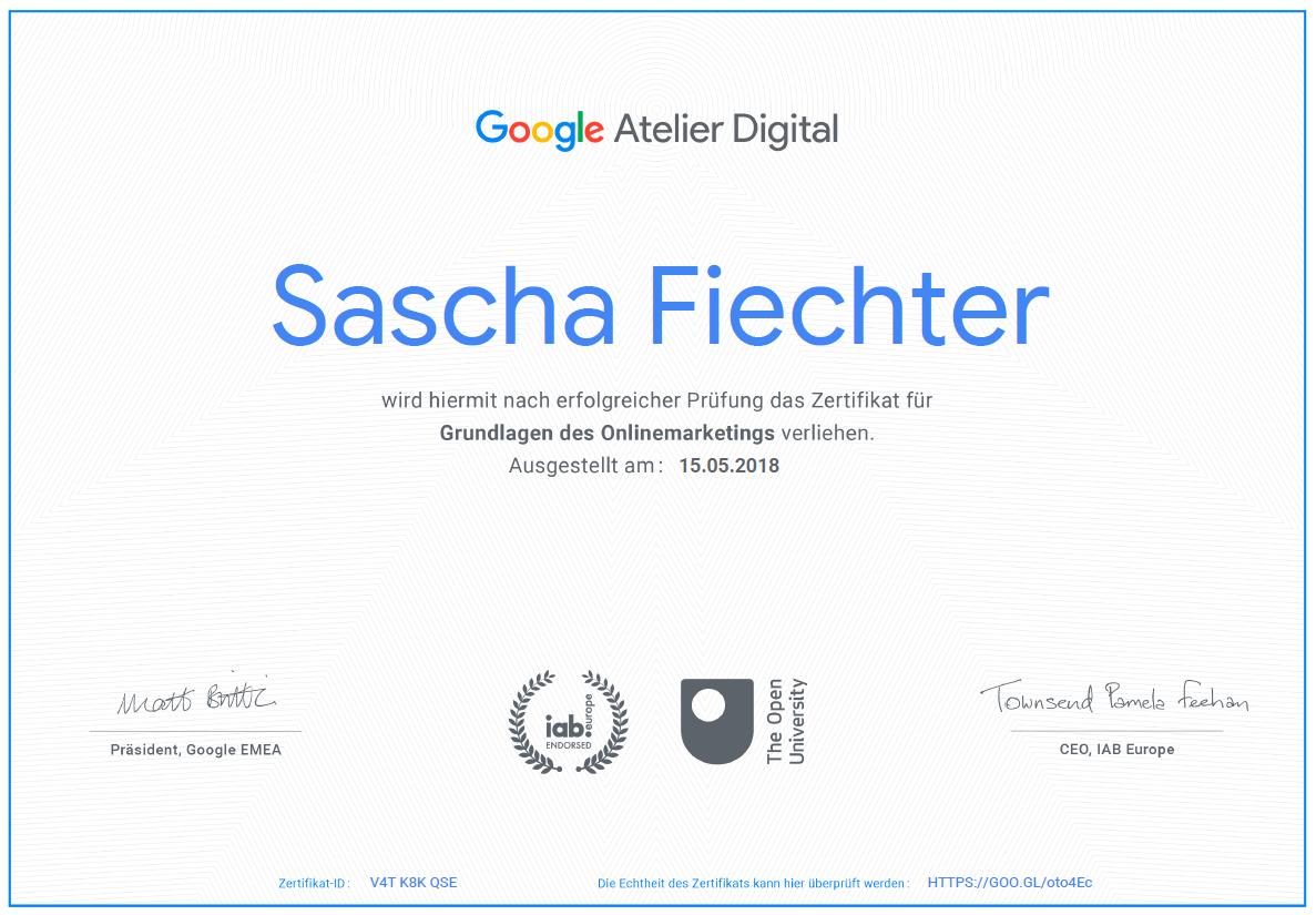 Google Zertifikat von Sascha Fiechter