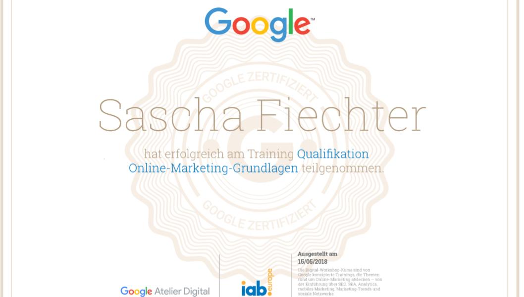 Google Zertifikat Sascha-Fiechter